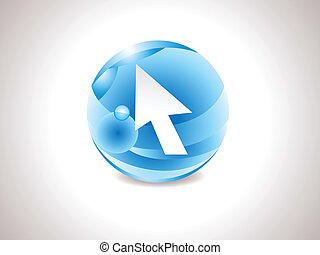 abstract glossy blue curssor icon