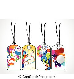 abstract colorful floral tags