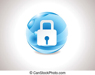 abstract glossy blue lock icon