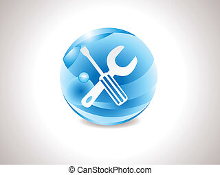 abstract glossy blue tools icon.