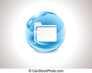 abstract glossy blue folder icon