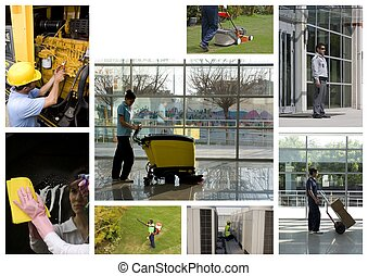 All services - A worker is cleaning the floor with...