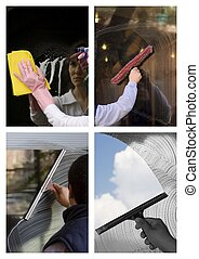 Window cleaner - A worker is cleaning the window