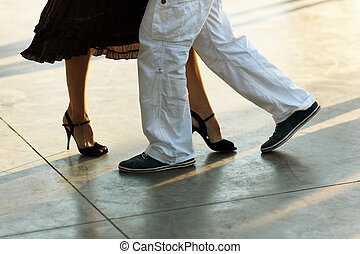 tango on the street - open air milonga at night, natural...