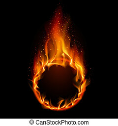 Ring of Fire Illustration on black background for design