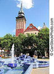 City Hall in Subotica, Serbia, build in 1908, with blue...