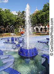 Fountain - Blue fountain in the city of Subotica, Serbia