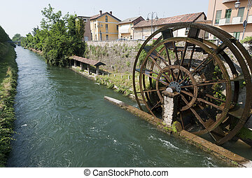 Groppello d'Adda (Milan, Lombardy, Italy), ancient watermill...