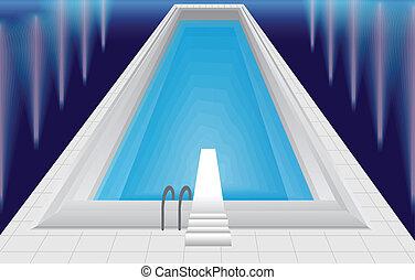 pool - swimming pool at night