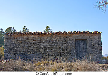 Old Shack - Old house in a field, built in stone