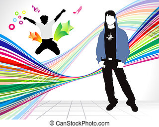 abstract colorful background with energetic boy vector...