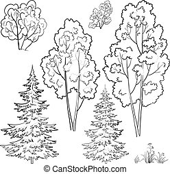 Plants, set, outline - Vector, plants: trees and flowers,...