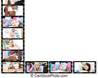 Collage of cute women relaxing