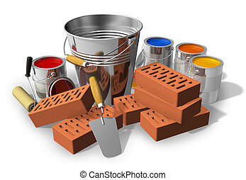 Construction/home renovation concept: metal bucket, red...