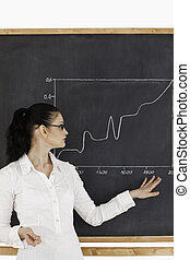 Dark-haired teacher explaining charts to students in a...