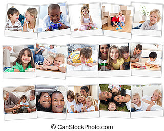 Collage of cute children playing at home with their parents