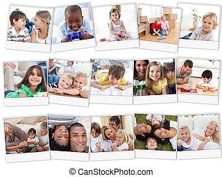 Collage,  CÙte, spielende, Kinder, Daheim