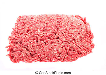 Ground Beef Isolated on White - Fresh ground beef isolated...