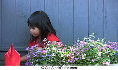 Asian Girl Watering Pretty Flowers - A cute little Asian...