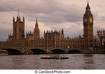 Big Ben at sunset London UK - Big Ben and Parliament at...
