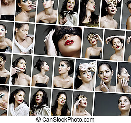 collage of beauty fashion make-up faces