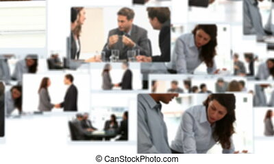 Montage of business people talking together at the office