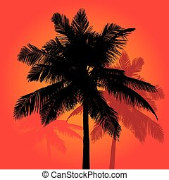 Palm Tree Sunset Silhouettes Vector Trio