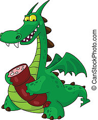 dragon with sausage - illustration of a dragon with sausage