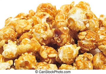 caramel corn - a pile of caramel corn on a white background