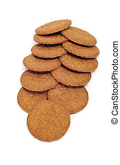 digestive biscuits - a pile of digestive biscuits on a white...