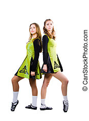 Irish dancers - St Patricks Day irish girls in green