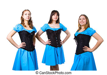Irish dancers in blue suits on white background