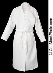Bath robe - White fresh bath robe isolated on black...