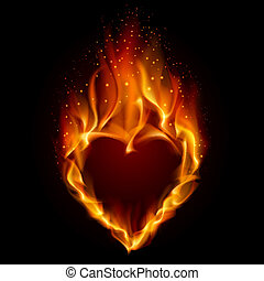 Heart in Fire Illustration on black background for design