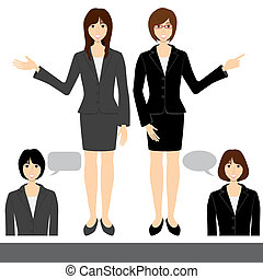 Business woman set - Illustration vector