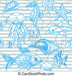 Sea seamless pattern