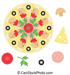 pizza and ingredients on white background