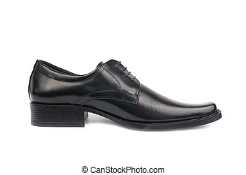 Man's black shoe - Left man's black shoe isolated on white...