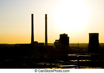 sunset over power plant - sunset over coal-fired power plant...