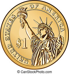 Vector American gold coin one dollar - American money, one...