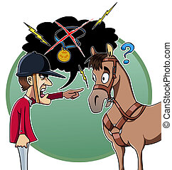 Rider blames his horse - Cartoon-style illustration: an...