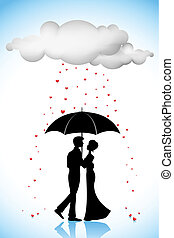 Couple under Umbrella in Love Rain - illustration of couple...
