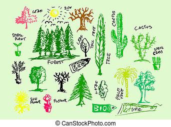 hand drawn natural icons