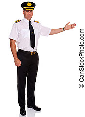 Airline pilot welcome gesture - Photo of an airline pilot...