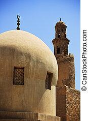 antiguo, mezquita, minarete