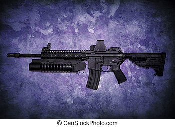Assault rifle on grunge background - Assault rifle with...