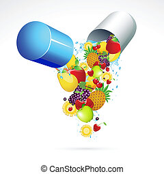 Vitamin Pill - illustration of fruits coming out from...