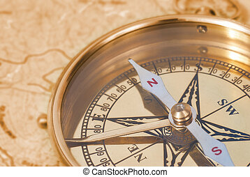 Compass on old map - Ancient compass on the grunge old map