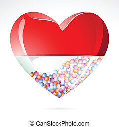 Love Pill - illustration of heart shape medical pill on...