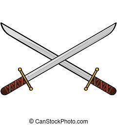 Swords - Cartoon illustration showing two antique swords